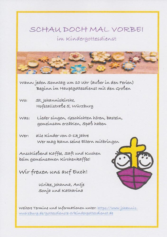 Kindergottesdienst St Johannis Würzburg