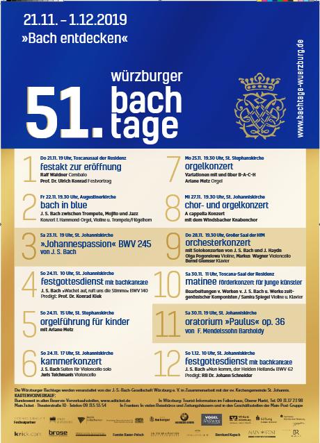 51. Würzburger Bachtage vom 21. November bis 1. Dezember 2019